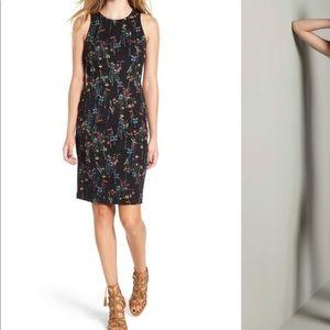 NWT Nordstrom Knit Black Floral Sheath Dress